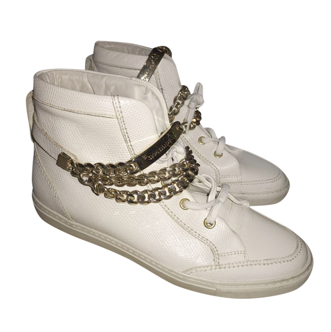 DSquared chain-detail leather high-top trainers