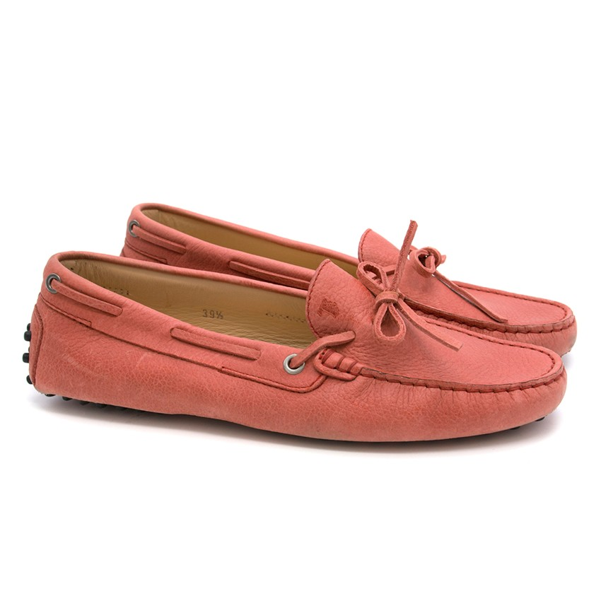 Tod's Pink Leather Loafers
