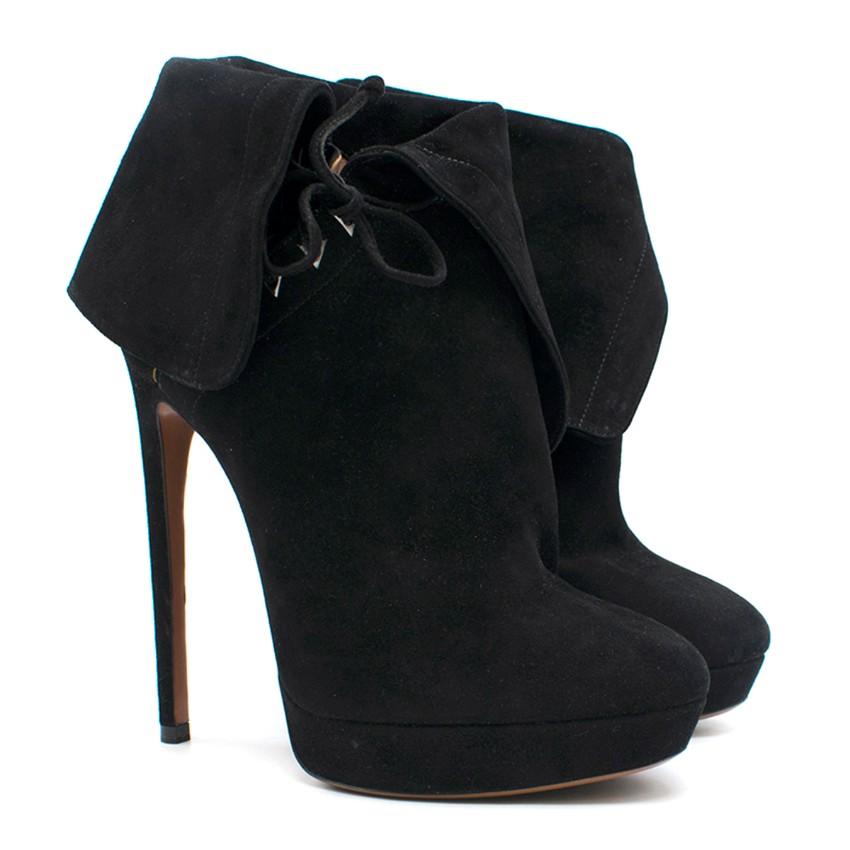 Alaia Black Suede Lace-Up Platform Ankle Boots