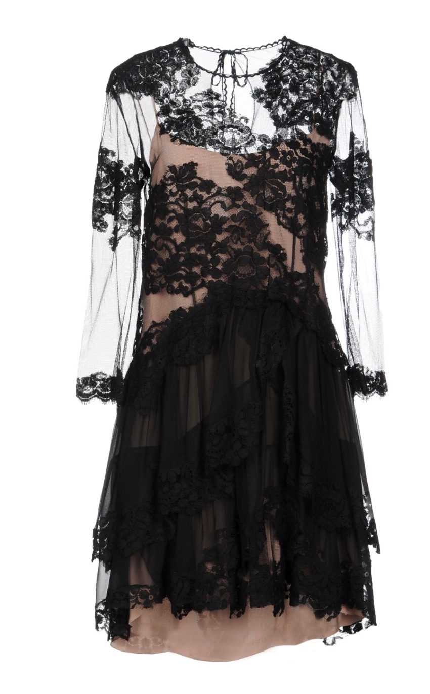 Alberta Ferretti black lace dress with contrasting silk slip