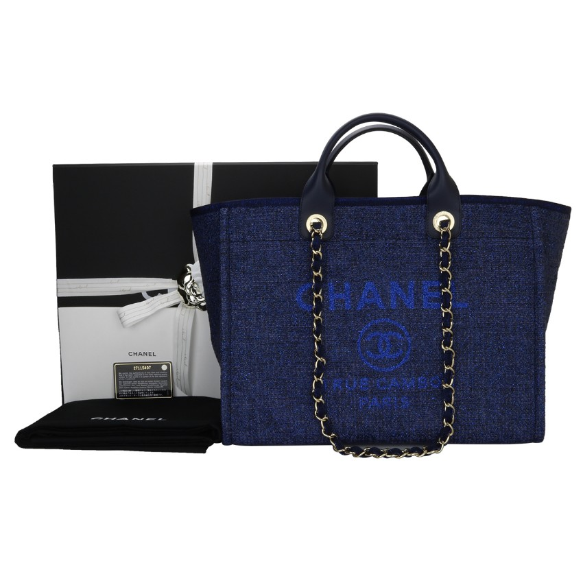 41a1f5f3f9f7 Chanel Navy Canvas Large Deauville Tote165219   HEWI London