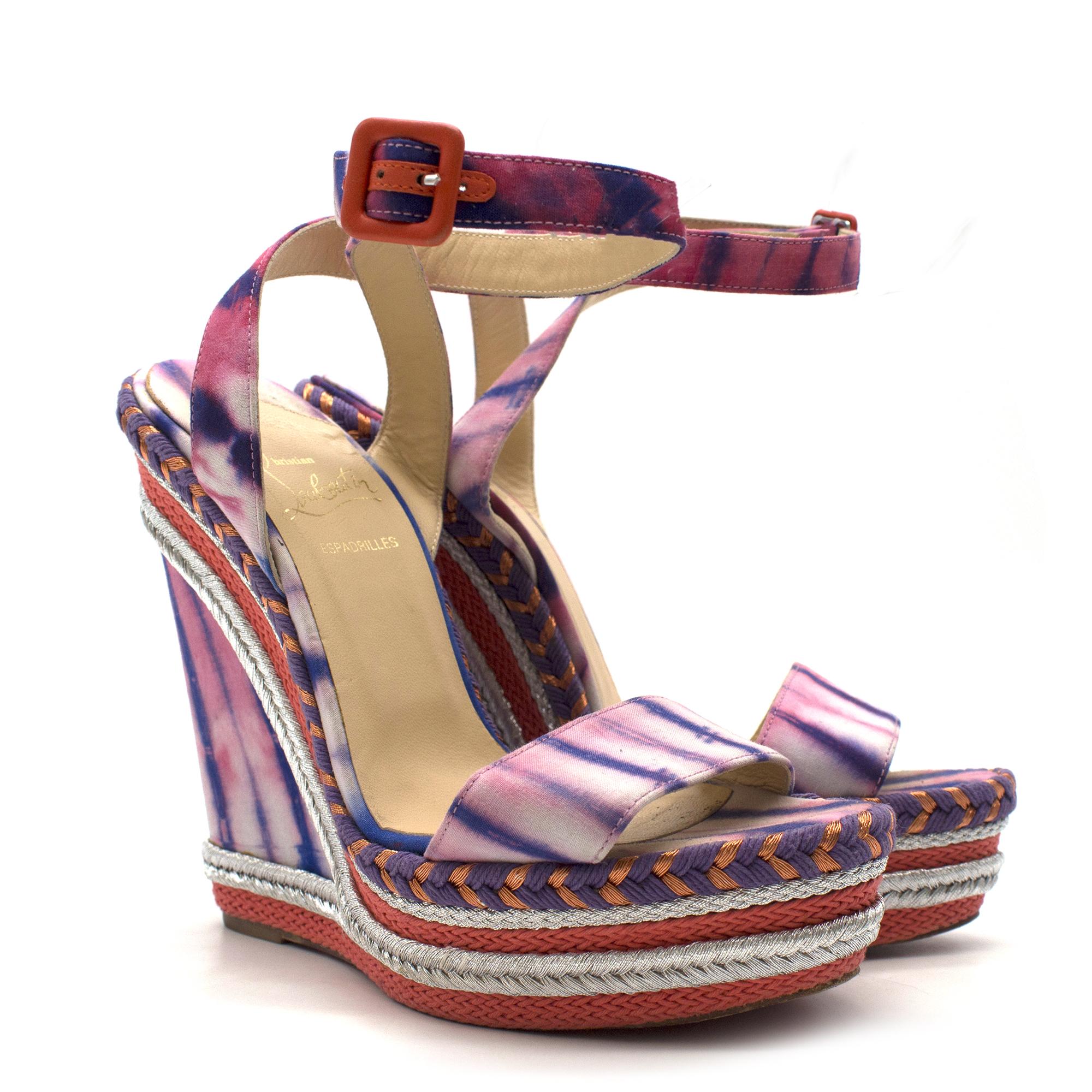 Christian Louboutin Duplice Tie-Die Espadrille Wedge Sandals