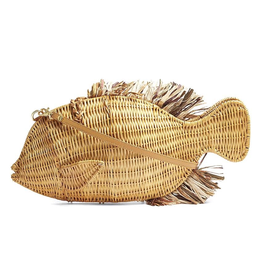 Aranaz Fish Raffia and Straw Cross-Body Bag