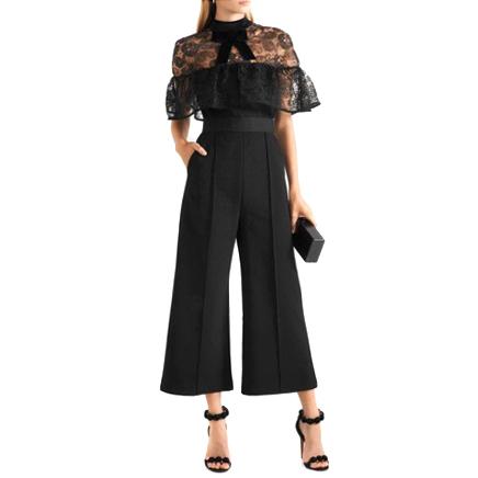 Self Portrait Black Lace-Overlay Jumpsuit
