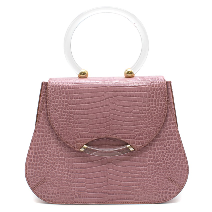 Charlotte Olympia Lilac Croc-embossed Leather Newman Bag
