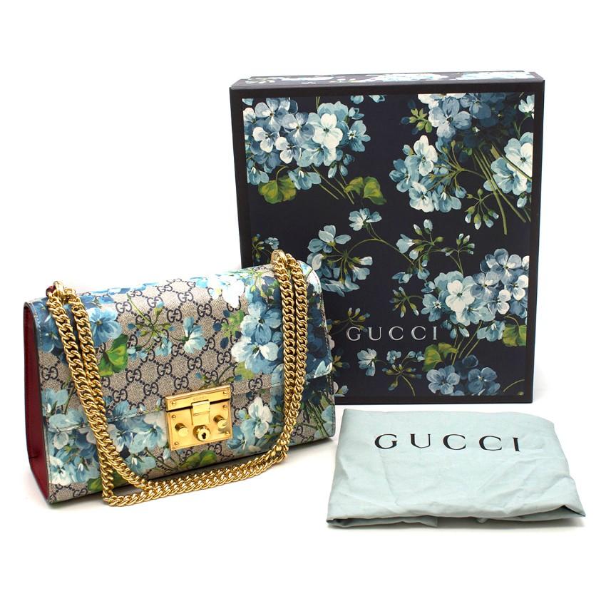 Gucci Supreme Monogram Blue Padlock Bag