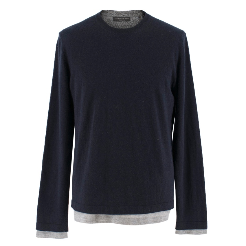Bamford & Sons cashmere navy & grey layered sweater