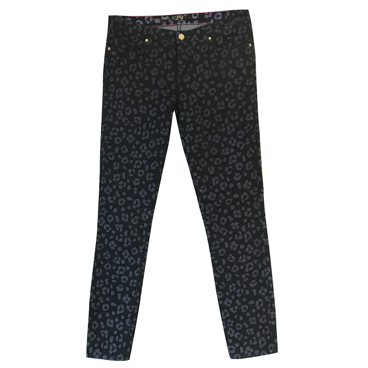 Kate Spade black slim-fit animal-print stretch jeans