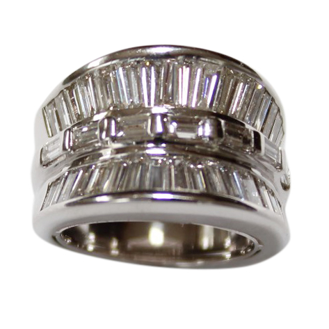 Bespoke Diamond Art Deco Style 18ct White-Gold Ring