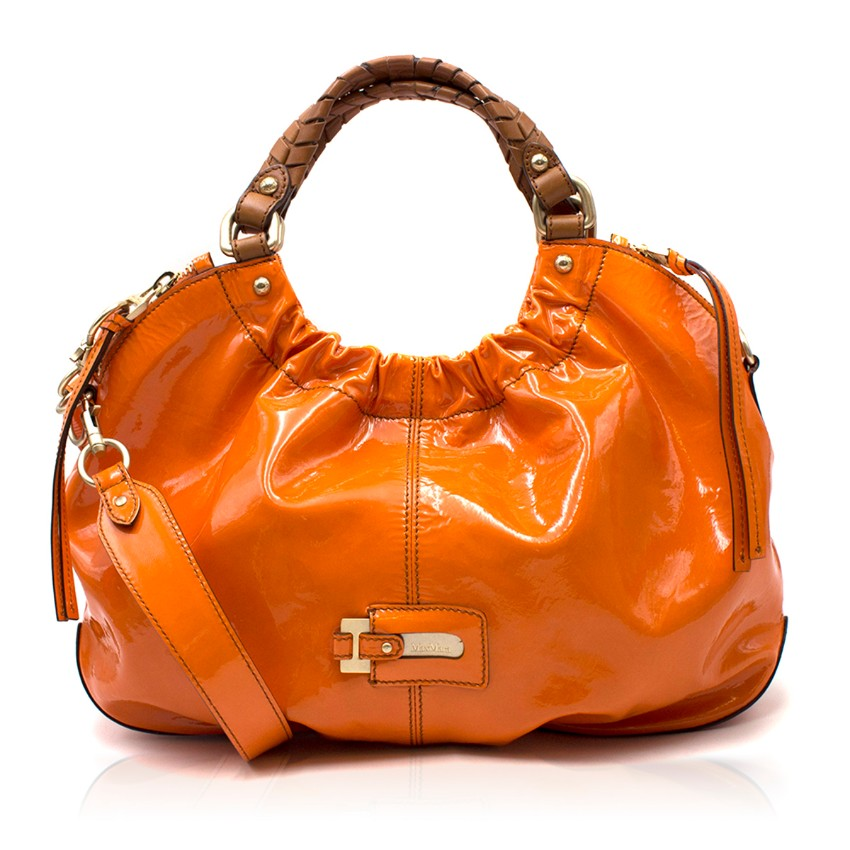 Max Mara Orange Patent Leather Slouchy Handbag