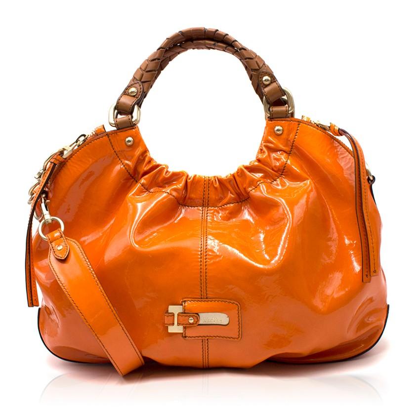 Max Mara Orange Patent Leather Slouchy Handbag