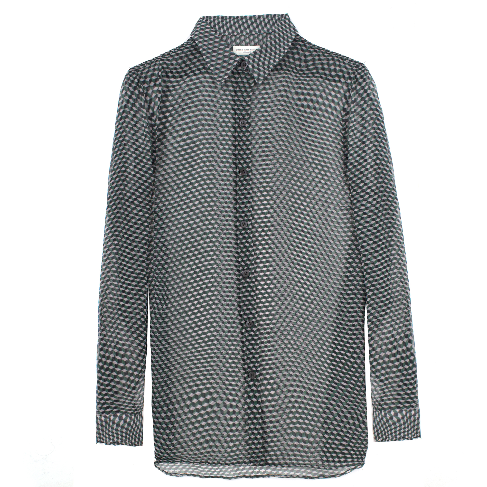 Dries Van Noten green geometric-print sheer silk shirt