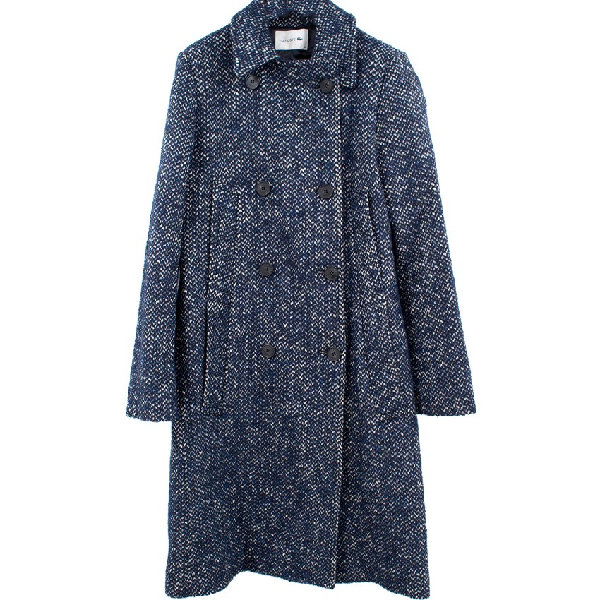 Lacoste Navy Tweed-effect Double-breasted Coat