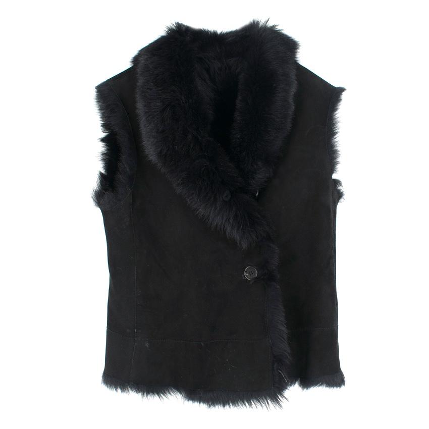 Joseph black fur sleeveless gillet