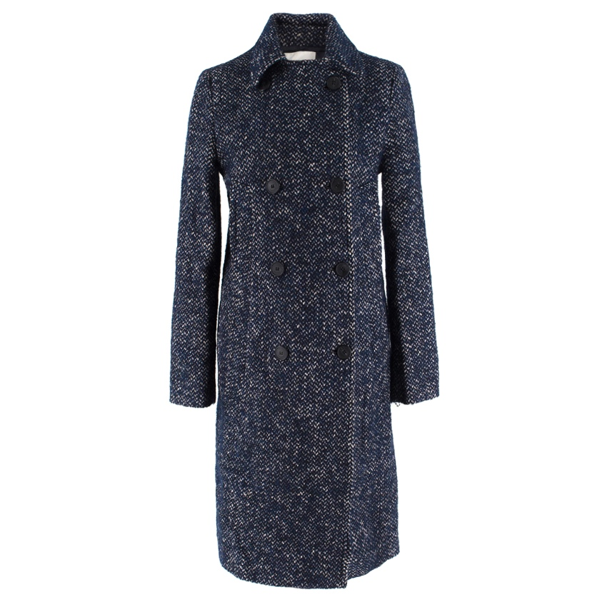 Lacoste Blue Double-Breasted Tweed Coat