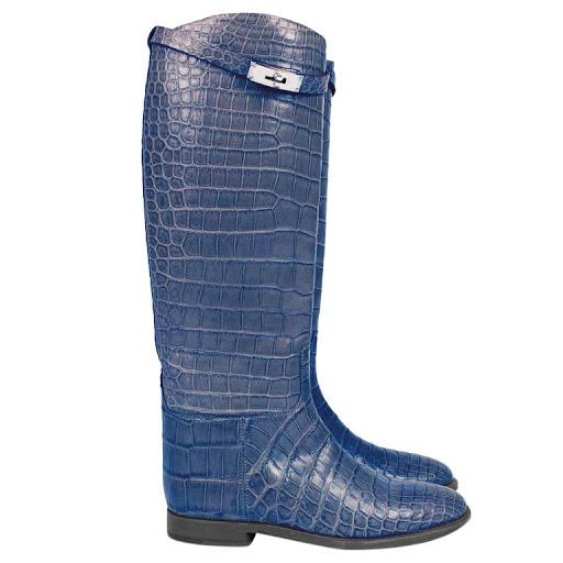 Hermes blue alligator knee-high riding boots