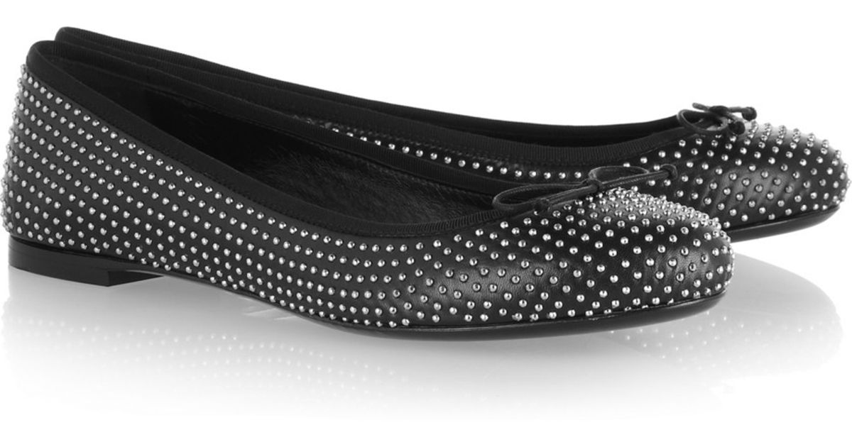 83b32337 Saint Laurent studded leather ballet flats
