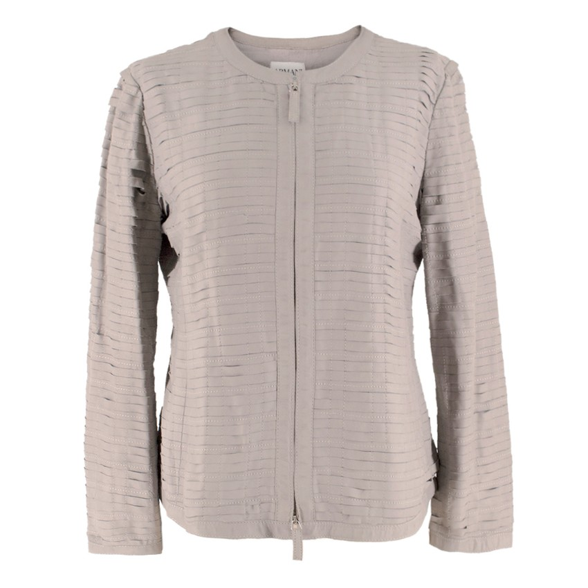 Armani Collezioni Grey Woven-Leather Jacket