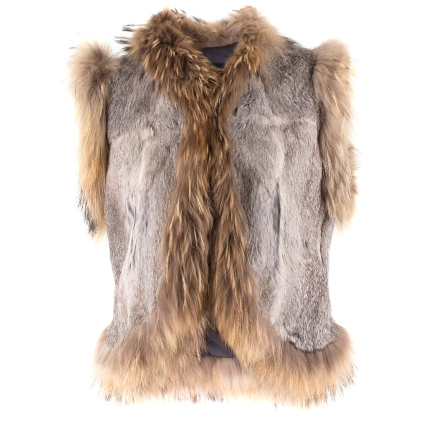 Jinhuli Shuidiao Rabbit and Raccoon Fur Gilet