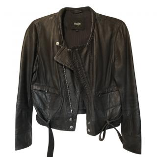 Maje Dark-Blue Leather Jacket