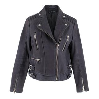 The Kooples Navy Leather Biker Jacket