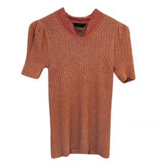 Burberry Prorsum Dusty-Pink Silk-Blend Knit Top