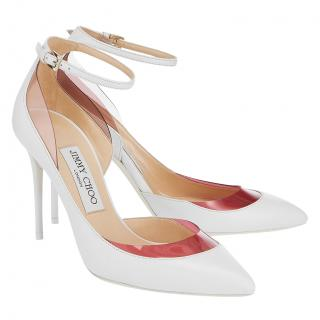 Jimmy Choo Lucy 100mm White & Pink Plexi Pumps