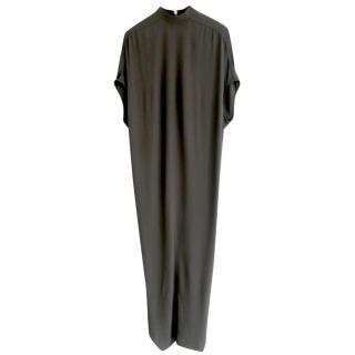 Rick Owens Dust Cut-Away Hem Crepe Maxi Dress