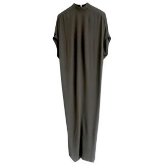Rick Owens Dust Cut-Away Hem Crepe Maxi Dress
