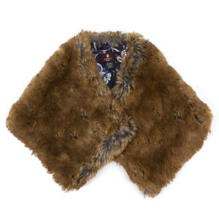 Liberty brown faux-fur princess collar shawl