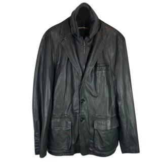 Emporio Armani Leather Blazer Jacket