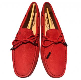 Tod's Orange Suede Loafers