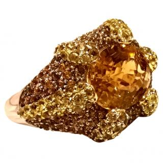 Chicele Citrine 18ct Gold Cocktail Ring