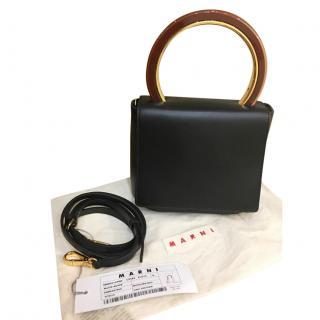 Marni Pannier black leather shoulder bag