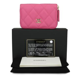 CHANEL Classic Pink Caviar Coin Purse