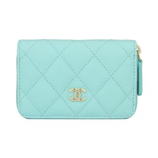 CHANEL Tiffany Blue Caviar Small Coin Purse