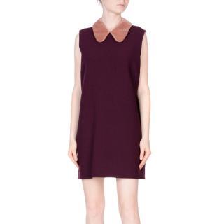 Roksanda wool-blend shift dress with a Peter Pan collar in aubergine