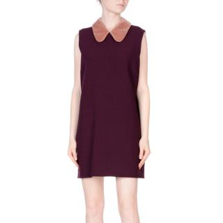 Roksanda wool-blend shift dress with a Peter Pan collar in aubergine