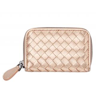 Bottega Veneta Rose Gold intrecciato Leather Purse