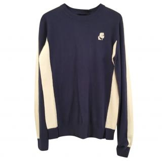 Karl Lagerfeld blue & white colour-block sweater