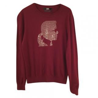 Karl by Karl Lagerfeld embellished burgundy sweater