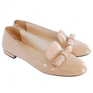 Prada Bow patent leather ballet flats