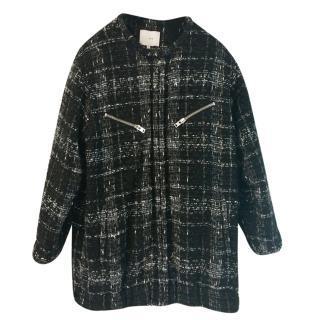 Iro black and grey collarless fleck coat