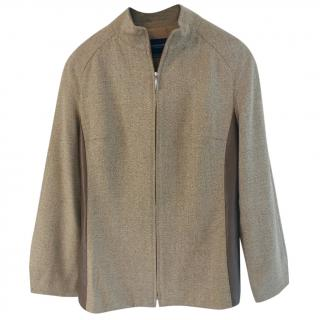 Burberry London leather-panel wool jacket