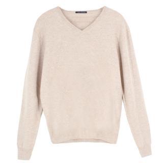 J.Crew Italian cashmere beige v-neck sweatshirt