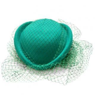 Gucci turquoise rabbit-felt & tulle hat