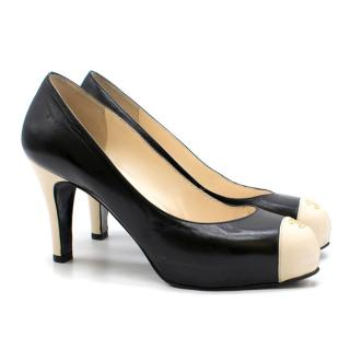 Chanel Two-tone Black and Ivory Leather Pumps