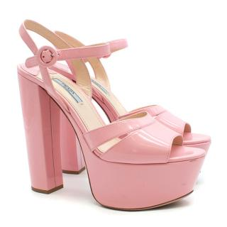 Prada Patent Leather Pink Platform Sandals