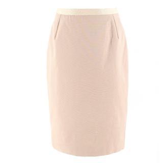 Oscar de la Renta Camel Grosgrain Pencil Skirt