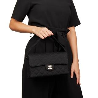 Chanel Black Jersey Vintage Medium Double Sided Classic Flap Bag